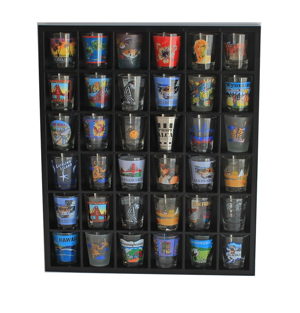 Shot Glass Wall Curio Display case, Wall Shelf Minifigures - No Door, Black