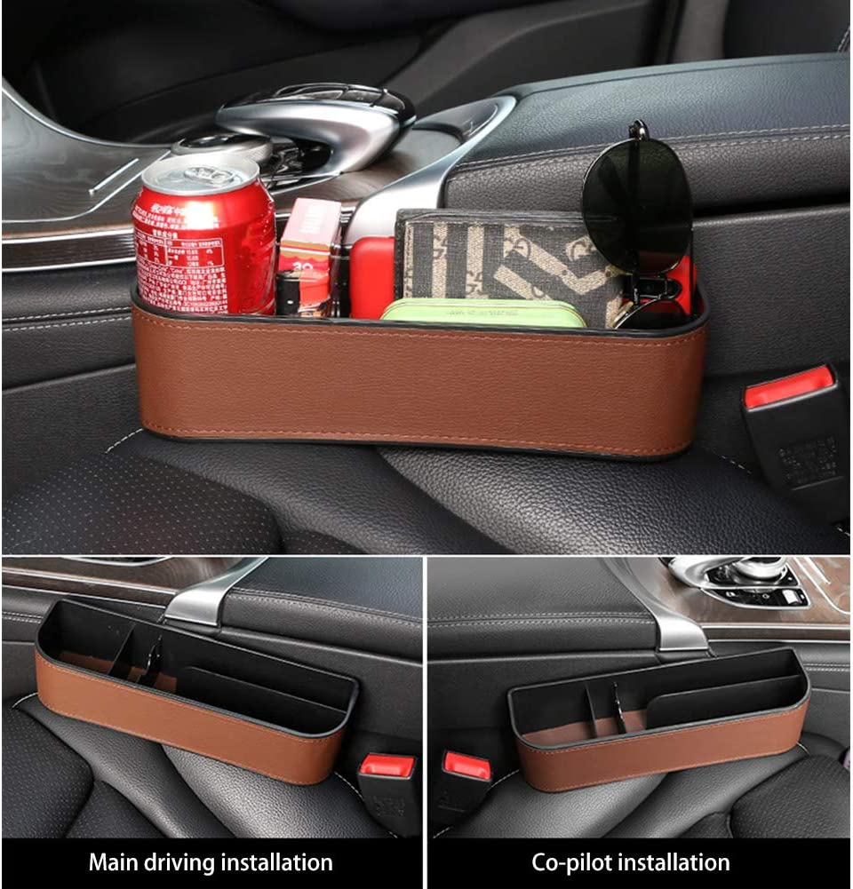 Holding Phone Wallet Cup Holder Brown Kriszon 2PCS Car Seat Gap Storage Box Seat Gap Filler with Cup Holder,Premium PU Leather Console Side Filler Organizer Pocket for Car Accessories Interior
