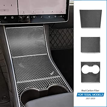 For Tesla Model 3 2017 Real Caebon Fiber Interior Cup Holder Console Panel Cover