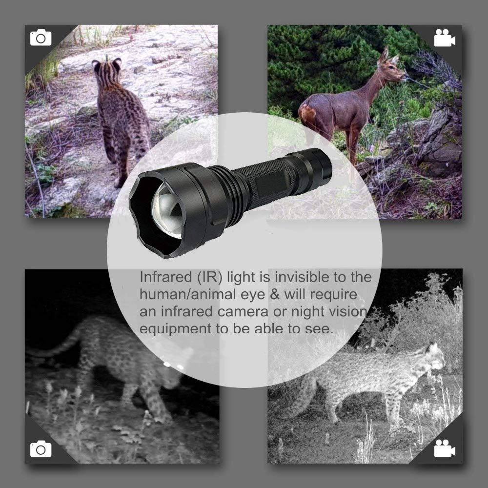 WINDFIRE IR Illuminator Flashlight 940nm Infrared Light Night Vision Flashlight Torch Adjustable Focus LED Flashlight with Batteries, Charger, Scope Mount, Remote Pressure Switch for Night Hunting by WINDFIRE