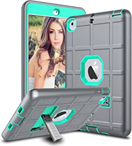 iPad Mini Case, iPad Mini 2 Case, iPad Mini Retina Case, Elegant Choise Heavy Duty Three Layer Armor Defender Protective Case Cover with Kickstand for iPad Mini 1/2/3 (Turquoise/Grey)