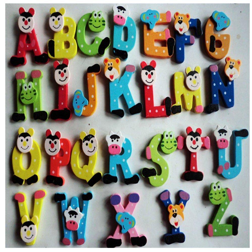 Dreamyth 26pcs Wooden Cartoon Alphabet A-Z Magnets Child Educational Toy