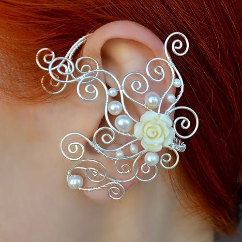 Amazoncom Flowers Earrings White Pearl Ear Cuff Elven Silver Wire
