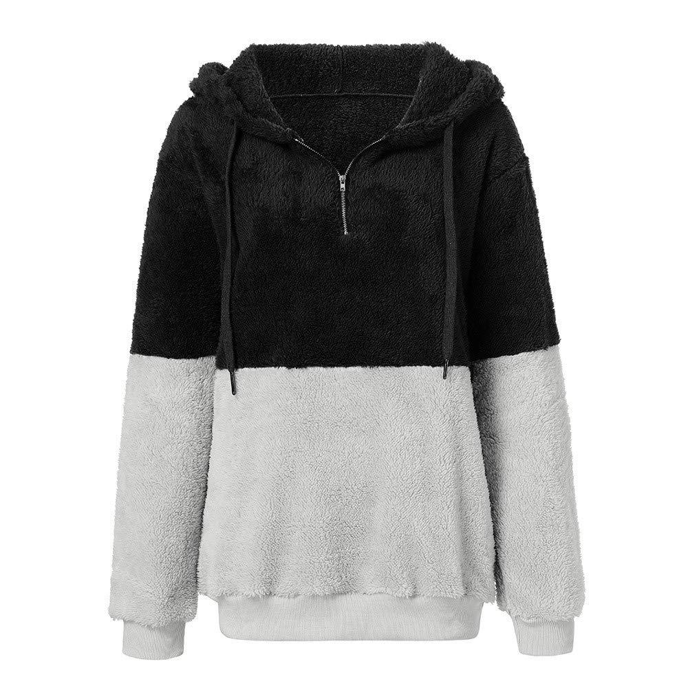 Pandaie Womens Hoodies Casual Loose Oversized Warm Fuzzy Hoodie Pullover Hooded Sweatshirt Outwear with Zip Pocket