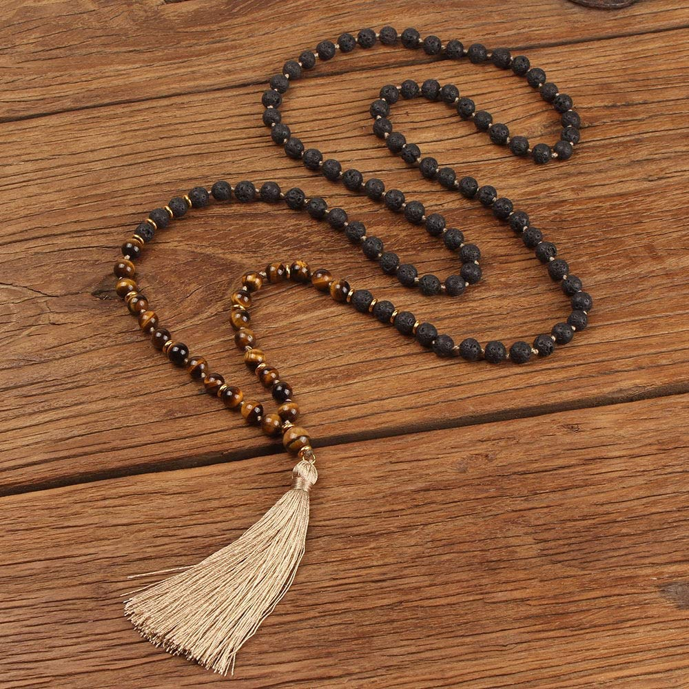 GVUSMIL 108 Mala Beads Necklace Natural Healing Energy Gemstone Charm Jewelry for Buddhist Prayer Rosary Meditation Hand Knitted Beaded Tassel Necklace