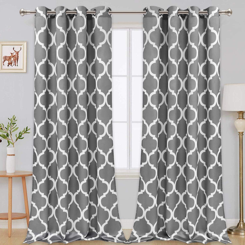 Vertkrea Moroccan Window Curtain Moroccan Tile Print Window Curtains Lattice Print Grommet Curtains Quatrefoil Drapes Geometric Window Treatment For Room Set Of 2 Panels 52 X 84 Inches Gray Furniture Decor