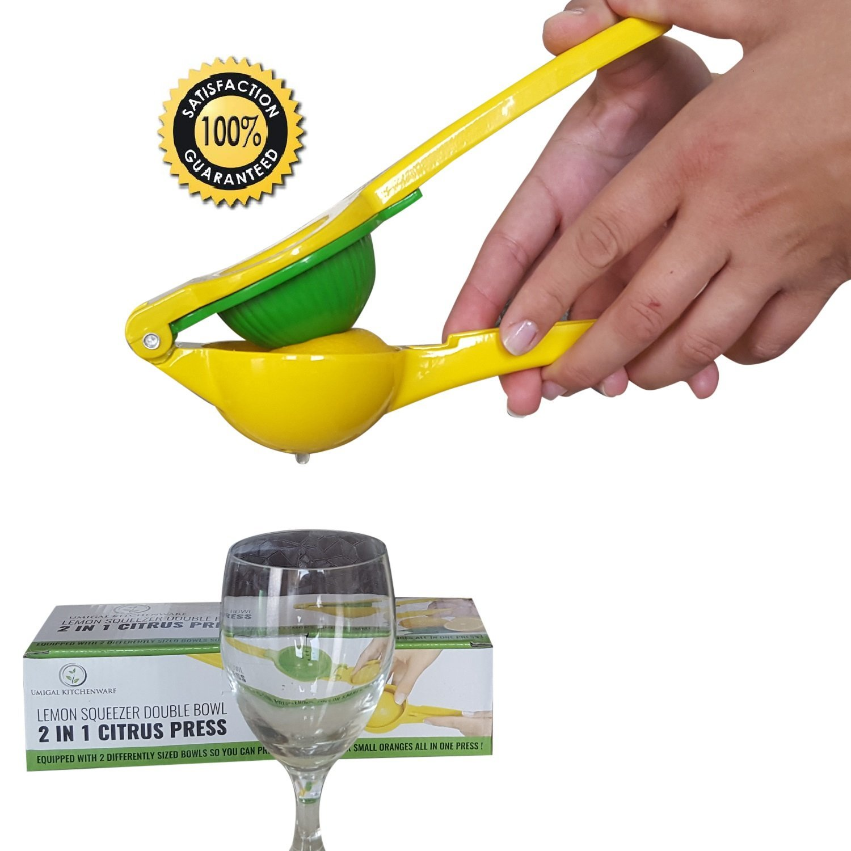 Exprimelimones de calidad profesional en acero inoxidable cítricos limón exprimidor de calidad superior prensa limón y Lima Juicer- a la mejor prensa limón y confortable Yellow