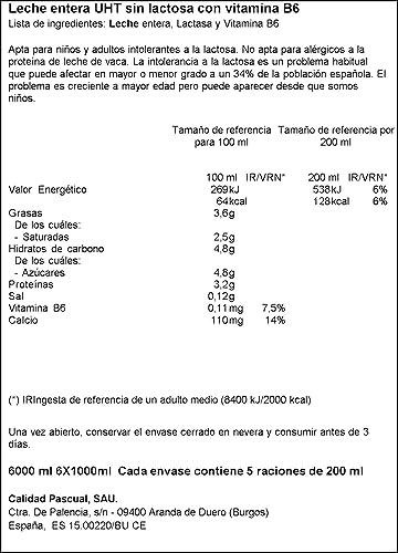 Pascual Leche sin Lactosa Entera, Pack de 6 x 1000ml