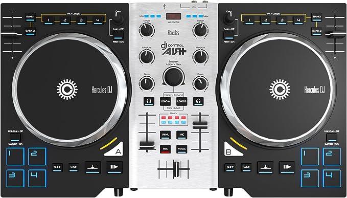 Hercules Air+ S- Controlador de DJ (750 pasos por rotación, 8 pads progresivos, MIDI, RCA), color negro y plateado: Amazon.es: Instrumentos musicales