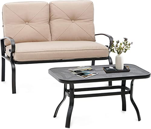 SUNCROWN Outdoor Patio Furniture Loveseat 2-Piece and Bistro Coffee Table Set Furniture Bench