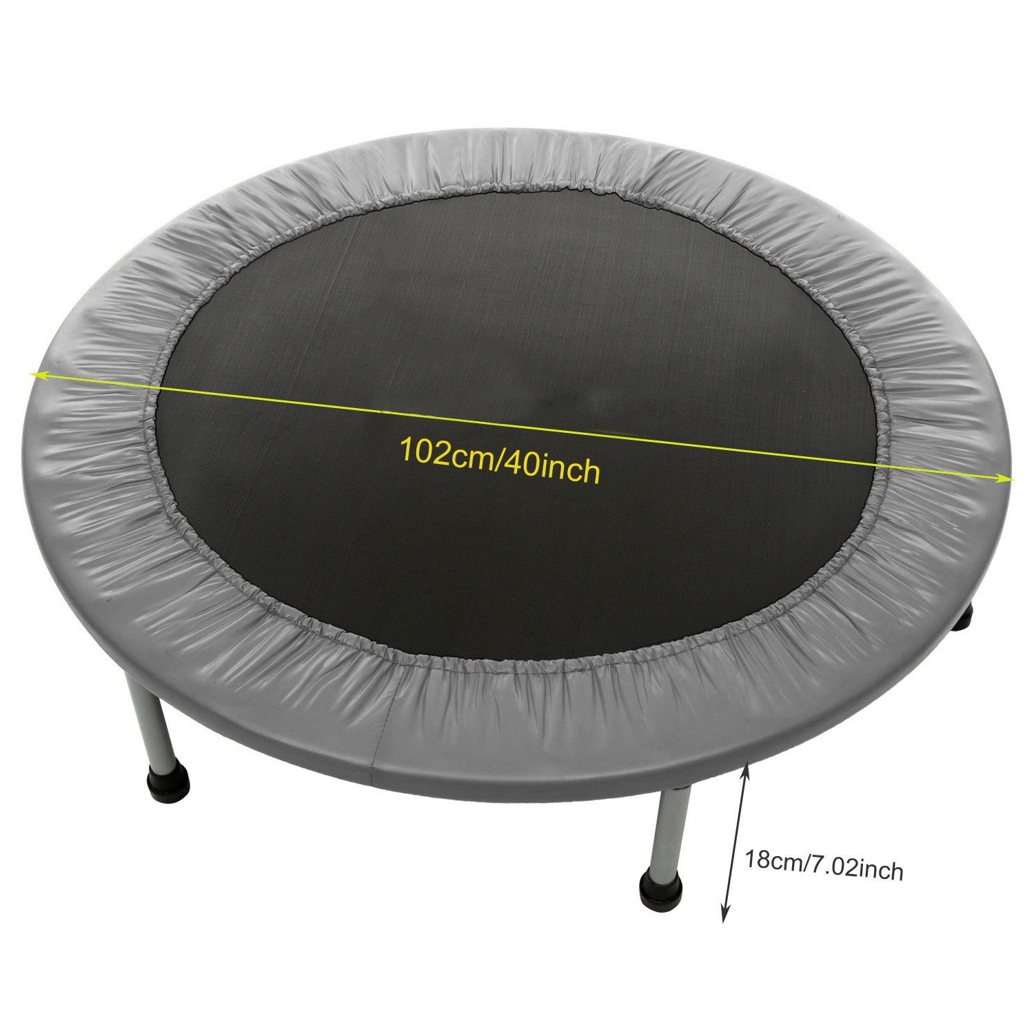 Balanu 40 Inch Mini Exercise Trampoline for Adults or Kids - Indoor Fitness Rebounder Trampoline with Safety Pad | Max. Load 220LBS (Gray-40In-Foldable Once) by Balanu