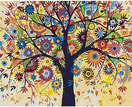 Art Mural Fleur Arbre Peinture Par Numeros Coloriage Par Numeros Image Modulaire Coloriage Par Numeros Mur Photos Pour Salon Artisanat Amazon Fr Bricolage