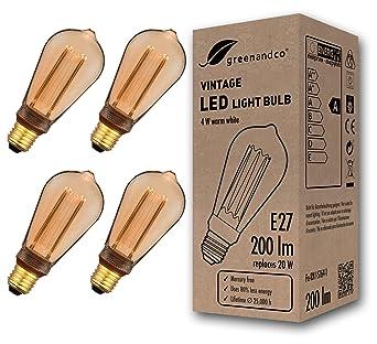4x Bombilla LED greenandco® decorativa estilo vintage antiguo Edison E27 ST64 4W 200lm 1800K (