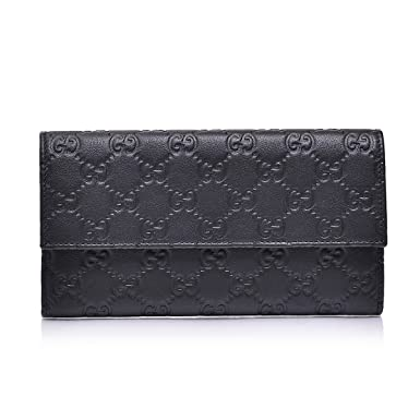 fc244b1c3ec1 Image Unavailable. Image not available for. Color: Gucci Women's Gg  Guccissima Black Leather Continental Wallet Clutch
