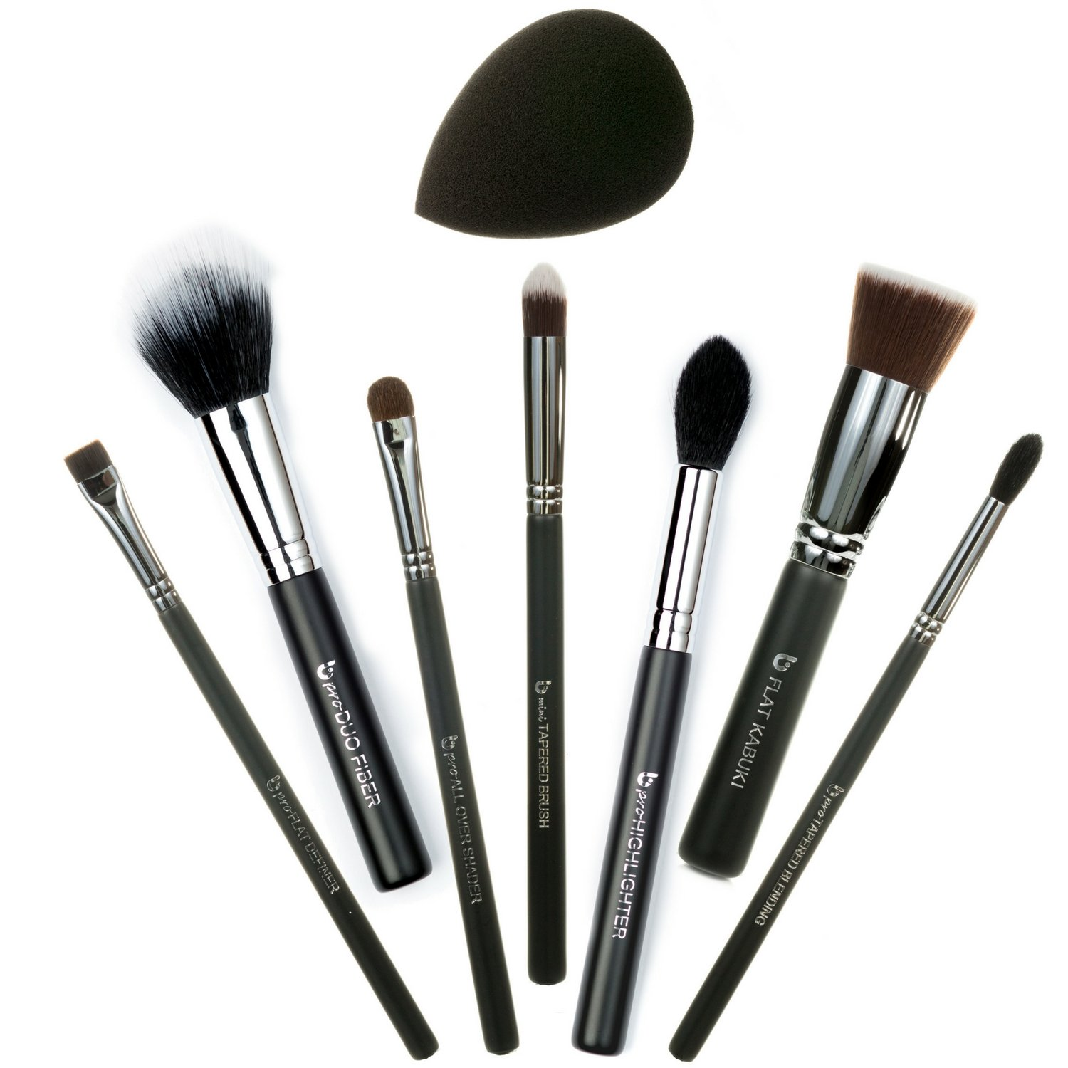 Basic Face 8pc Makeup Brush Set Includes Flat Top Kabuki, mini Tapered, Tapered Blending, All Over Shader, Flat Definer, Duo Fiber, Highlighter, Black Teardrop Makeup Sponge