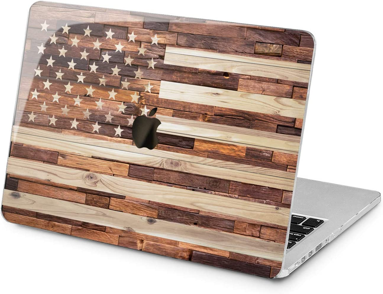 "Cavka Hard Shell Case for Apple MacBook Pro 13"" 2019 15"" 2018 Air 13"" 2020 Retina 2015 Mac 11"" Mac 12"" Patriotic Stripes Print Cover Design Stars Wooden USA Plastic Protective Laptop American Flag"
