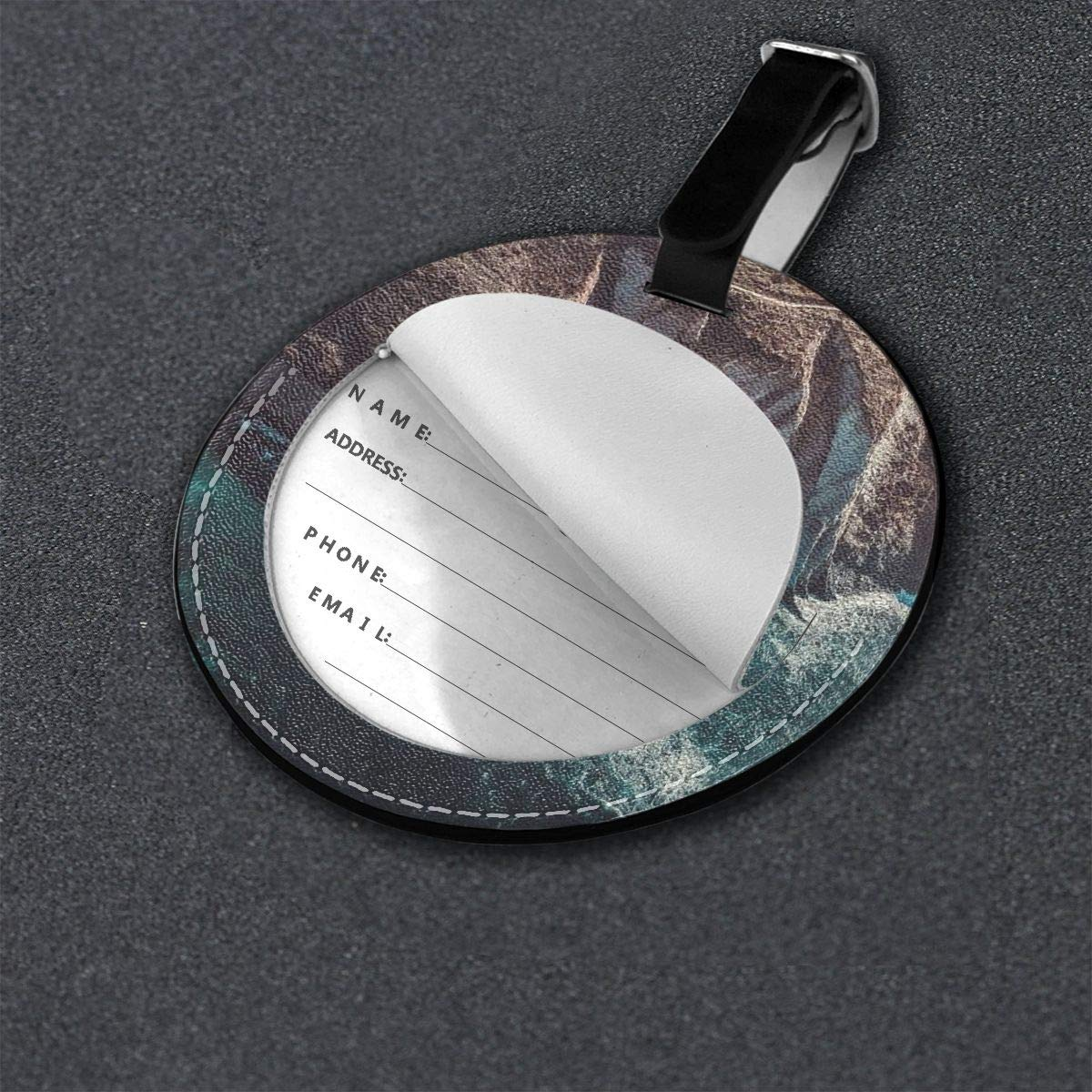 Jinsshop 4 PCS Leather Luggage Tag With Name ID Card Perfect To Quickly Spot Luggage Suitcase Aerial Shot-bird S Eye View