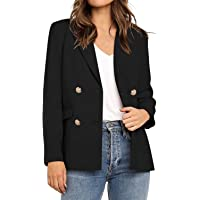 Utyful Women's Casual Notched Lapel Double Breasted Button Pocket Blazer Jacket