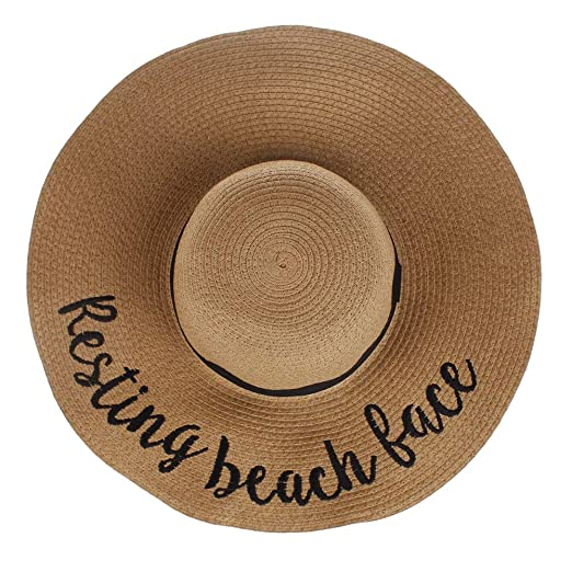 c0b798e5c9f Women Wide Brim Straw Hat Cursive Embroidered Adjustable Beach ...
