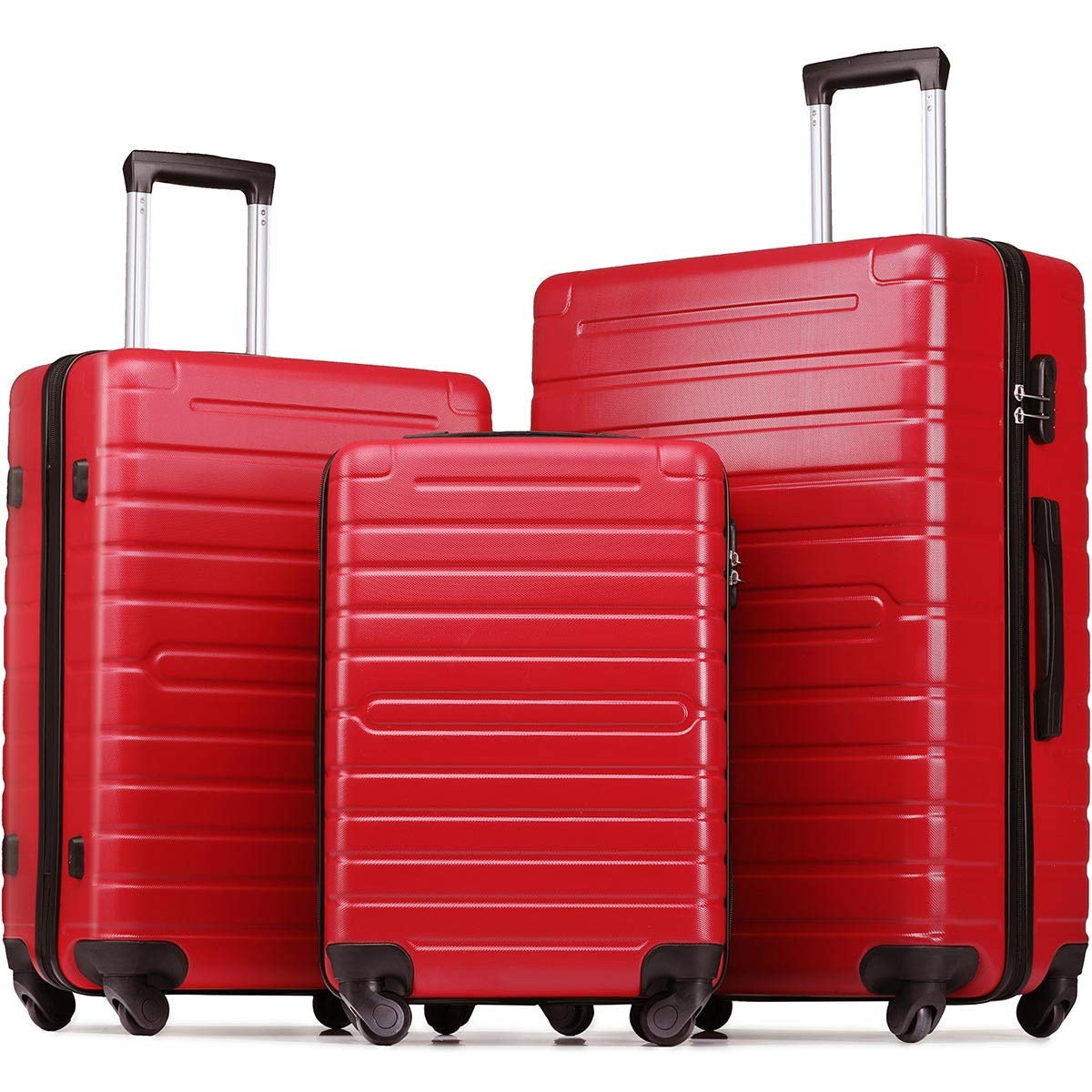 Flieks Luggage Sets 3 Piece Spinner Suitcase Lightweight 20 24 28 inch (Red)