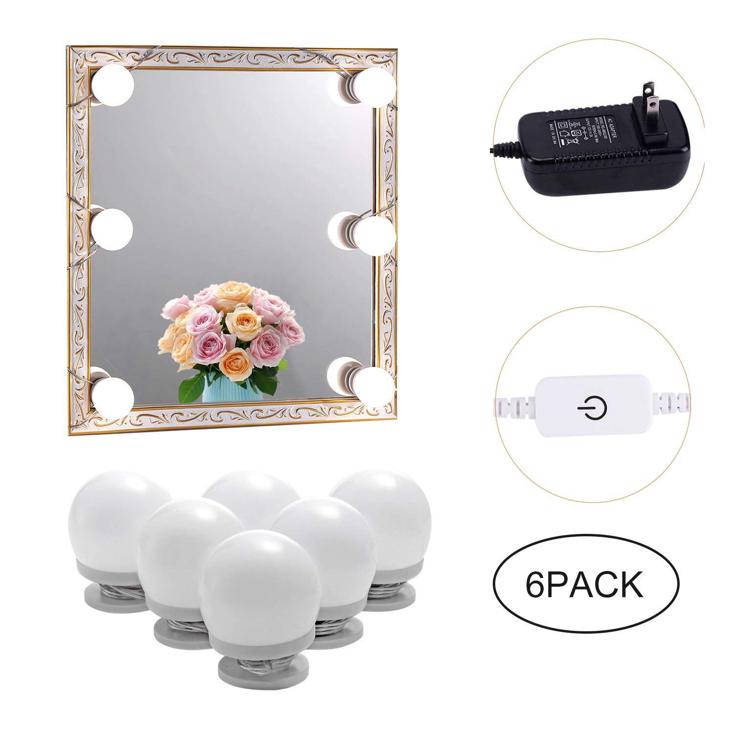 AIBOO Hollywood LED Vanity Mirror Lights Kit for Girls Makeup Dressing Table Lights,6 Natural Light Bulbs Stick on with Dimmer and Plug in Adapter(Mirror Not Included)