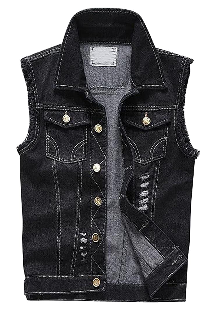SHOWNO-Men Ripped Sleeveless Denim Vest Jacket Coat Overcoat