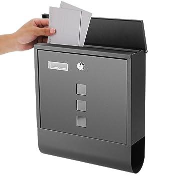 Steel wall mounted lockable mail letter post box newspaper holder black design