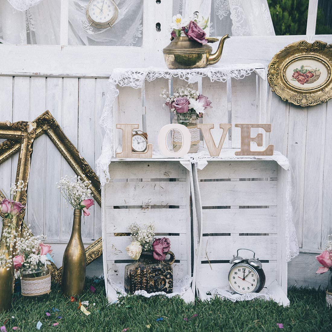 Fdit Freestanding Sign for Wedding Birthday Romantic White Wooden LOVE Letters Sign
