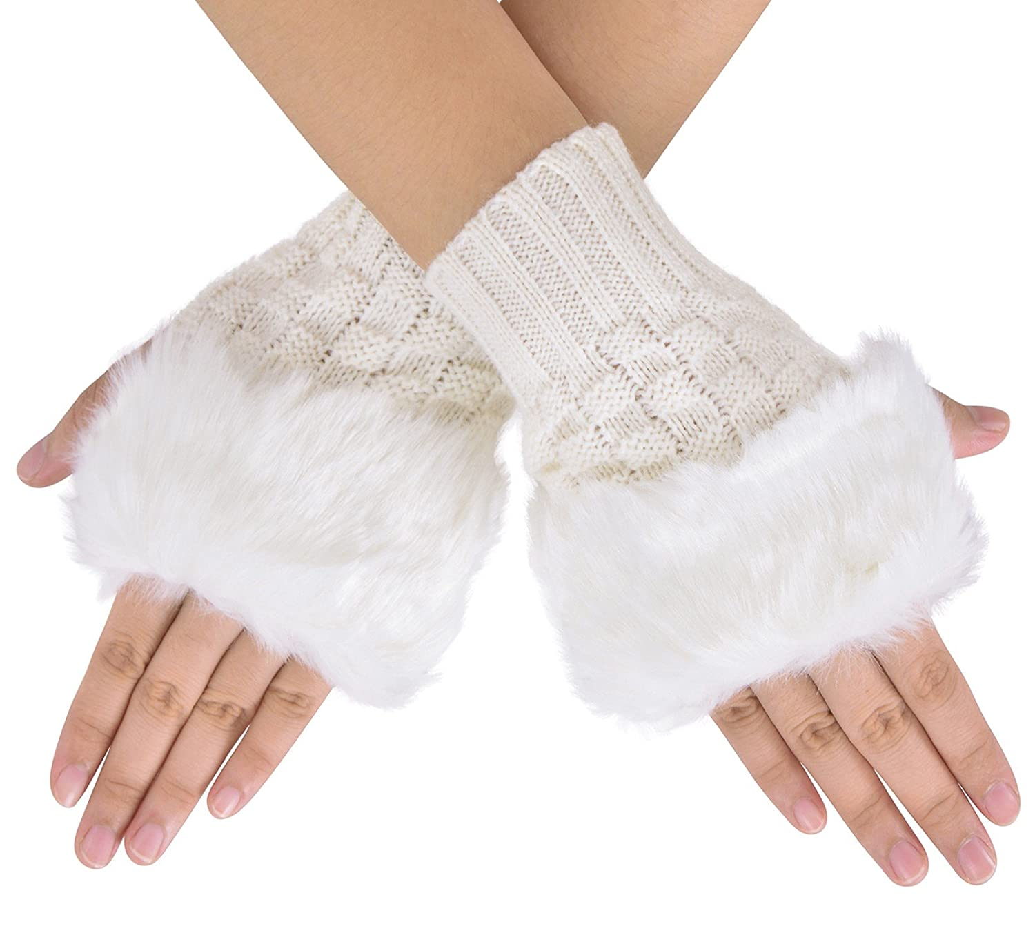 Women\'s Faux Fur Arm Warmers Knit Fingerless Gloves Winter Mitten ...