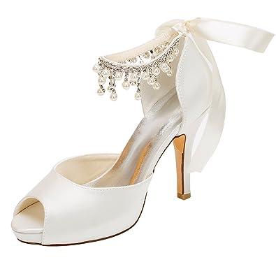 Emily Bridal Chaussures de Mariée Chaussures de Mariage en Ivoire Satin  Talons Hauts Peep Toe Perles Lacent des Chaussures de Mariée  Amazon.fr   Chaussures ... a8339361928