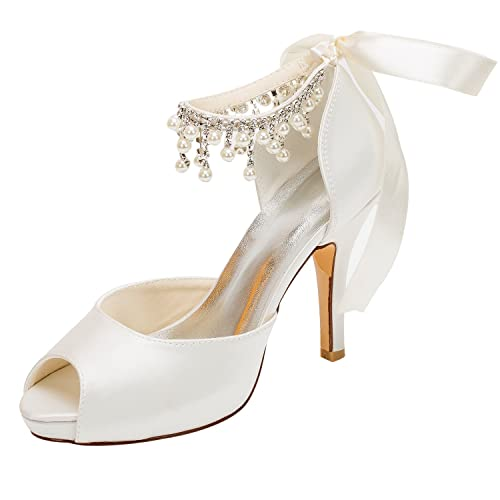 44437dda8f9 Emily Bridal Wedding Shoe Ivory Wedding Shoes Satin High Heels Peep ...