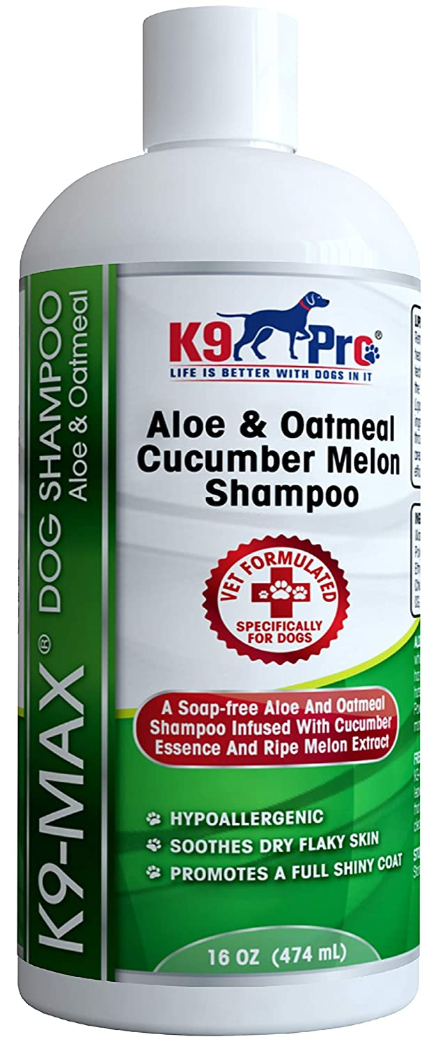 Oatmeal Dog Shampoo and Conditioner for Dogs with Allergies and Dry Itchy Sensitive Skin. Best Hypoallergenic Medicated Tear Free Anti Itch Puppy Shampoo with Cucumber Essence and Melon Extract