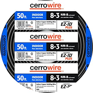 product image for Cerrowire 147-4003B 50-Feet 8/3 NM-B Stranded with Ground Wire, Black