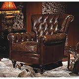 Luxus Echtleder Ohrensessel Chesterfield Vintage Braun