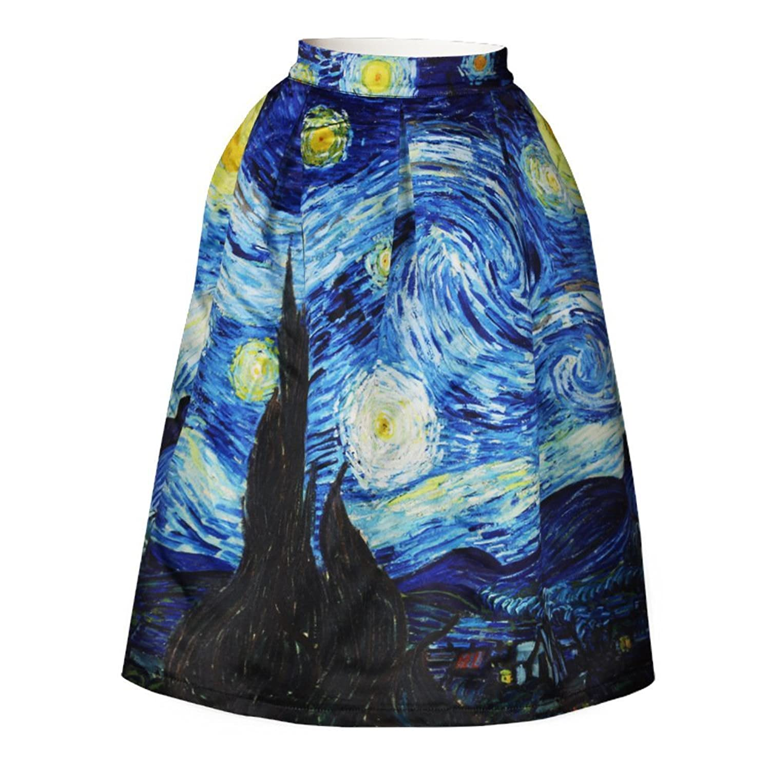 e62a96fcbf3 hot sale 2017 YITL Women s Printed Pleated Flared Midi A-line Skater Skirt