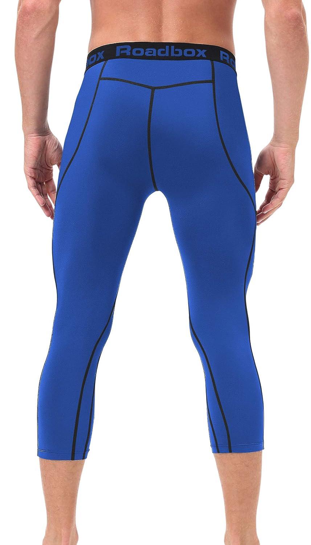 Roadbox Mens Compression Pants 3//4 Capri Shorts Baselayer Cool Dry Sports Tights Leggings