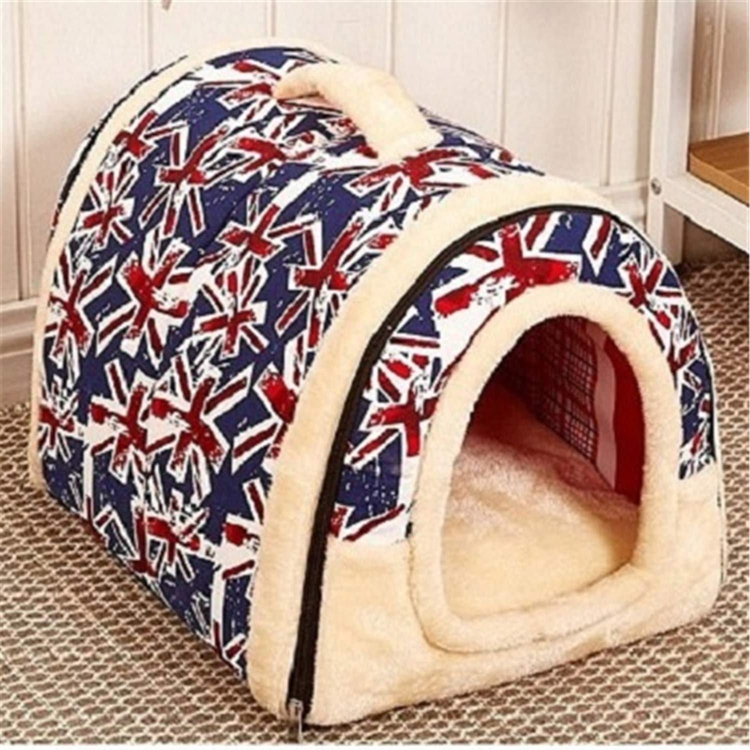 As The Picture-4 L As The Picture-4 L Pet Dog House Nest with Mat Foldable Pet Dog Bed Cat Bed House for Small Medium Dogs Travel Kennels for Cats Pet Products