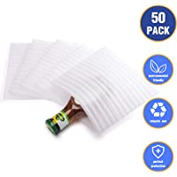"""Fuxury 7.5"""" x 7.5"""" Foam Wrap Pouches, Cushion Pouches to Protect Dishes, Glasses, Porcelain & Fragile Items, Packing Cushioning Supplies for Moving (50 Count)"""