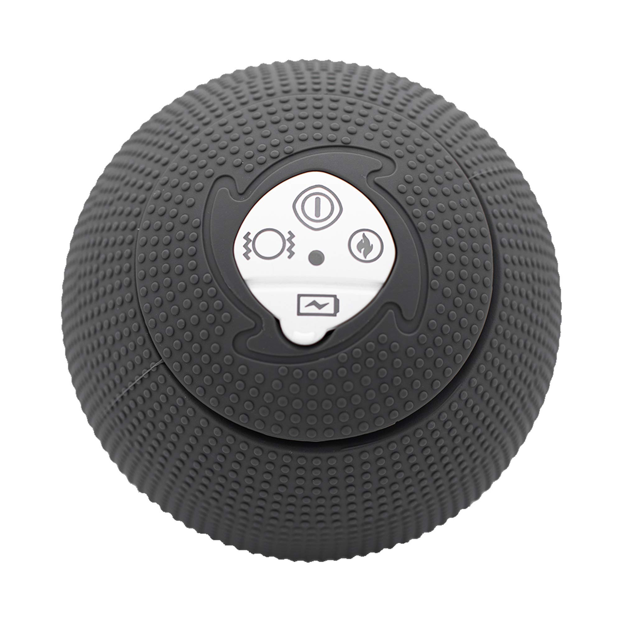 MyoStorm Heating Vibrating Massage Ball Roller for Deep Tissue Muscle Recovery Therapy and Pain Relief w/ 3 Speed Vibration + 2 Heat Settings (Charcoal) by MyoStorm