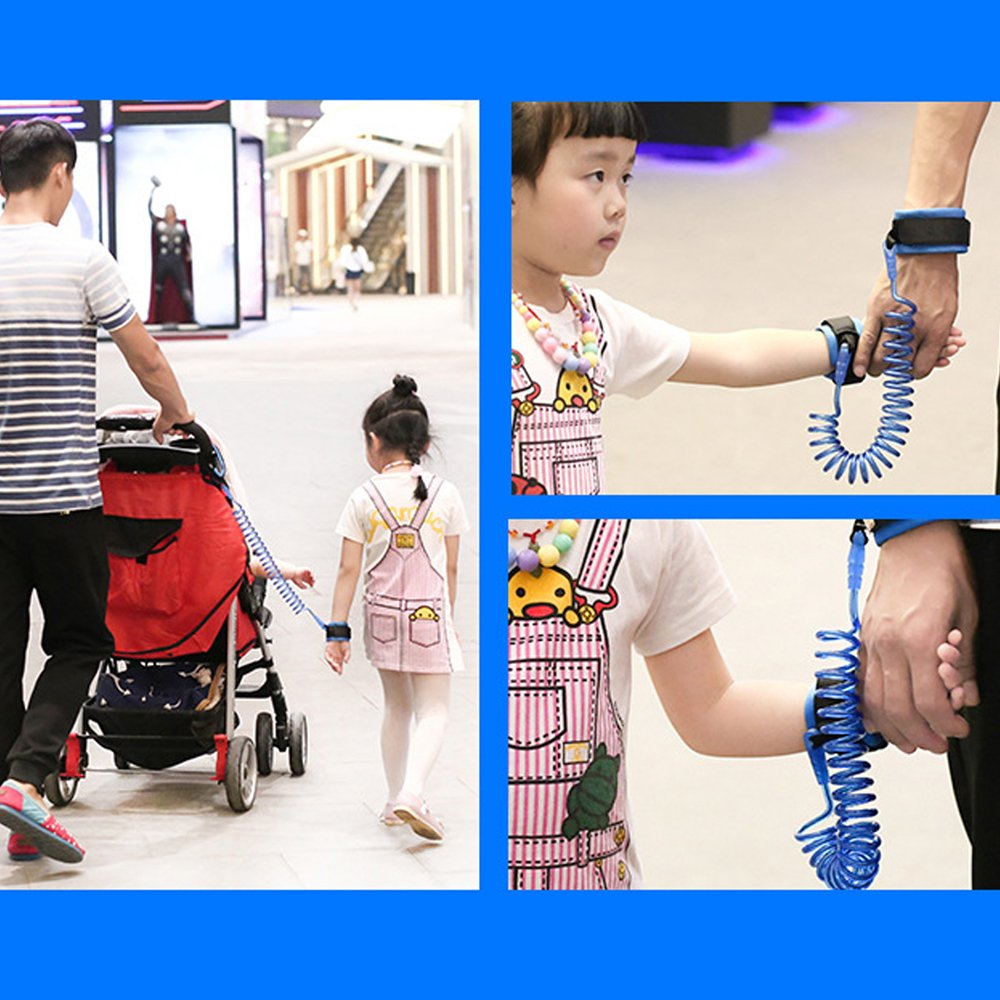 (2 kit)Anti Lost Wrist Link 2 meters Wrist Leash for Kids & Toddlers Child Safety Wristband (Blue) by MPAYIXUNGS (Image #4)