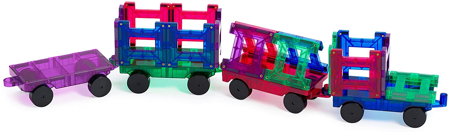Playmags 20 Piece Train Set: Now with Stronger Magnets, Sturdy, Super Durable with Vivid Clear Color Tiles