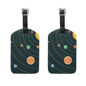 COOSUN Sistema Solar Universo Etiquetas de Equipaje de Viaje Etiquetas Titular Nombre de la Etiqueta Tarjeta para Equipaje Maleta Bolsa Mochilas, ...