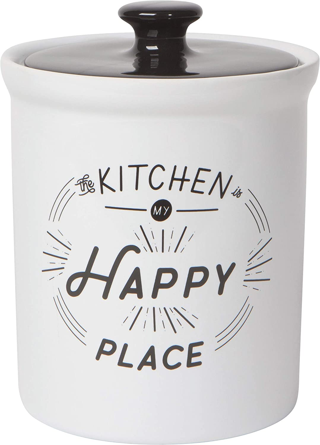 Now Designs Vintage Stoneware Food Canister with Lid, 58 Ounce Capacity, Happy Kitchen