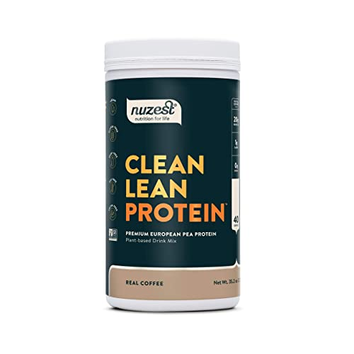 Nuzest Clean Lean Protein – Premium Vegan Protein Powder, Plant Protein Powder, European Golden Pea Protein, Dairy Free, Gluten Free, GMO Free, Naturally Sweetened, Real Coffee, 40 Servings, 2.2 lb