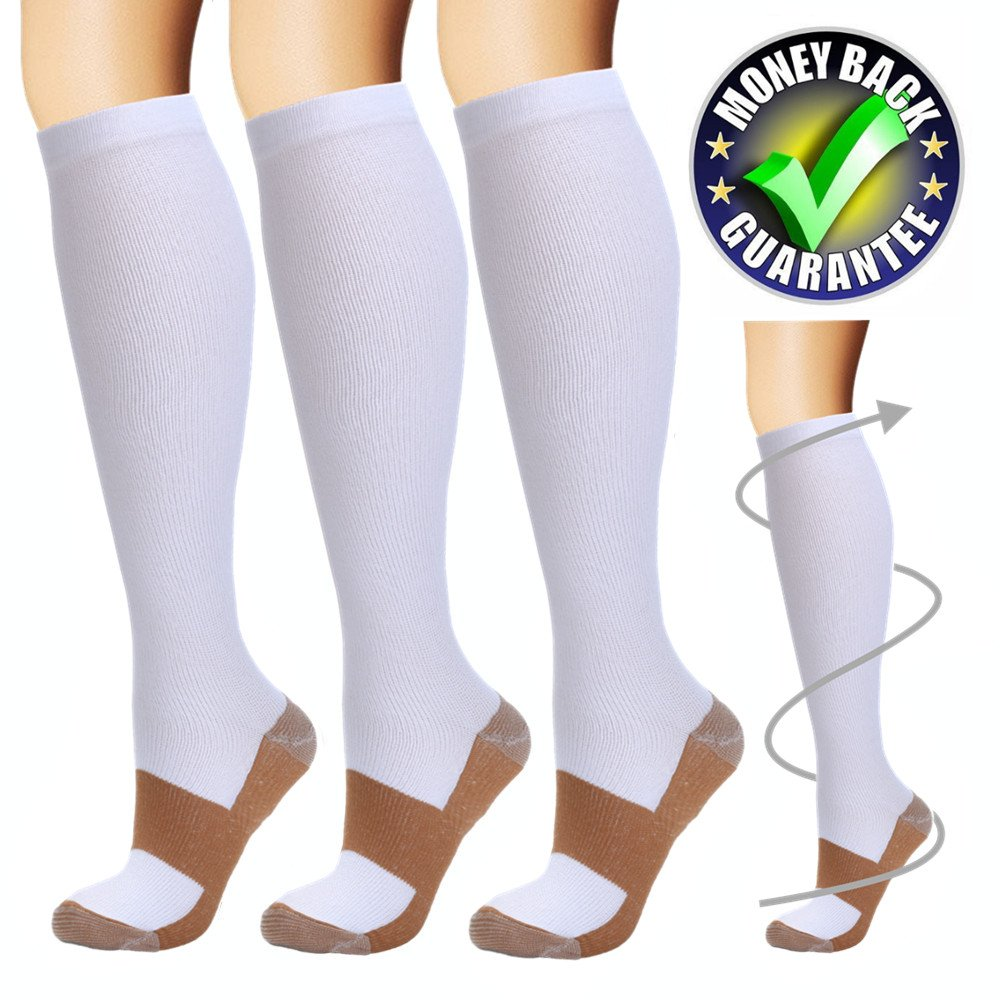 Copper Compression Socks For Men & Women(3 Pairs)-Best For Running,Athletic,Medical,Pregnancy and Travel -15-20mmHg(White-L)