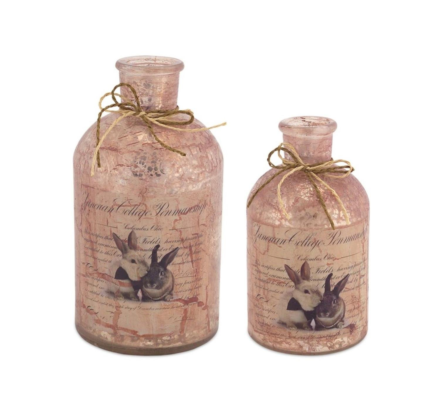Set of 4 Adorable Bunny Rabbit Decoupage Mercury Glass Bottles 7.25'' by Melrose