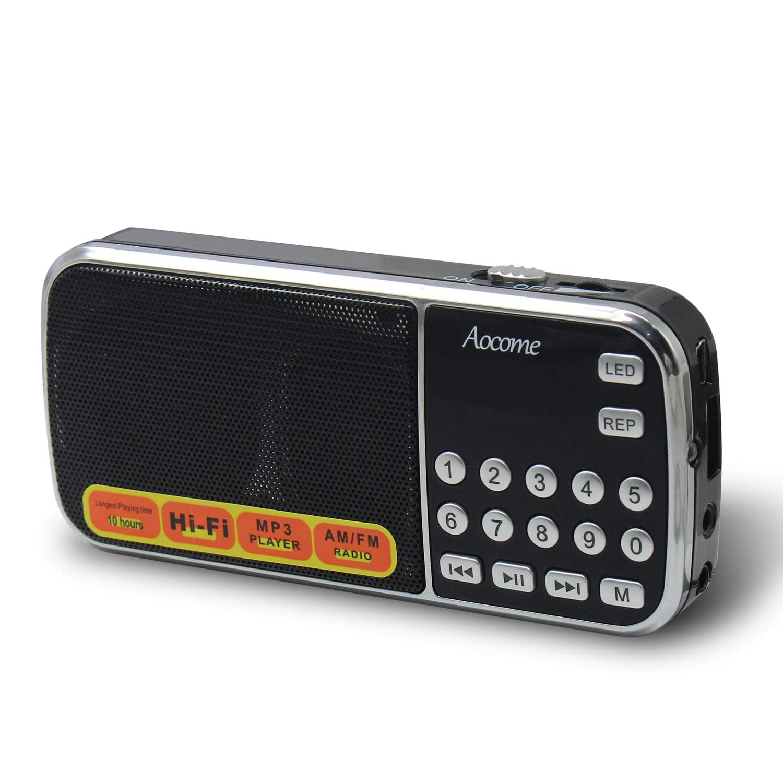 Aocome Portable Mini AM FM Radio Clear Speaker Music Player, Micro SD/TF Card Slot, USB Charging Cord, Rechargeable Li-ion battery, Earphone Jack (BM8 Black)
