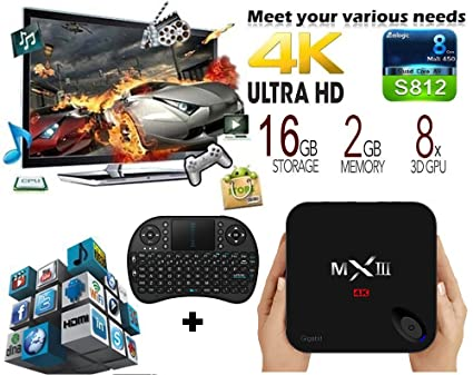 trongle MXIII de G Android 5.1 Android TV Box Amlogic S812 2 G + 16g eMMC