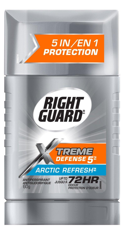 Right Guard Xtreme Defense 5 Antiperspirant Solid, Arctic Refresh, 60 Grams (2057958)