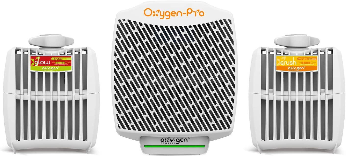 Oxygen-Pro - Starter Kit - Commercial Air Freshener and Deodorizer, Wall Mounted, Battery Operated Automatic Dispenser, Odor Eliminator, and Fragrancing System (Strong Scent)